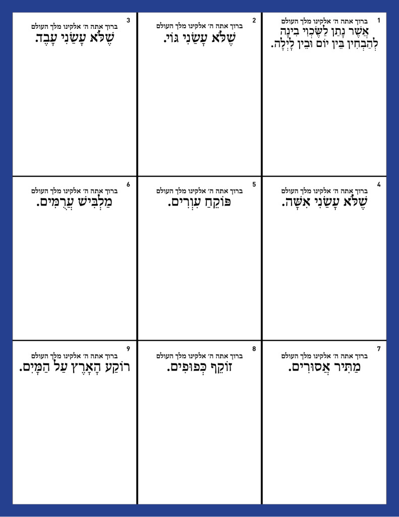 Birchos HaShachar squares with explanation - MEN - BLANK